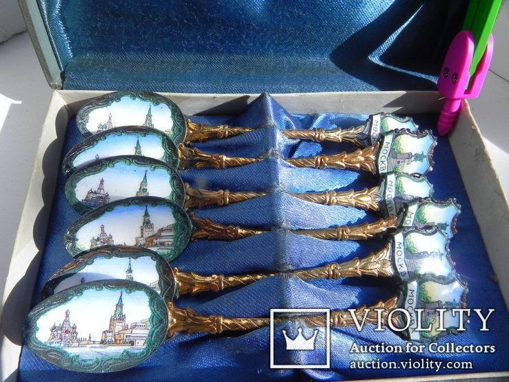 Набор коллекционных ложечек с эмалью., фото №3
