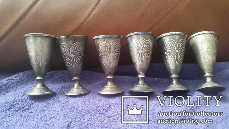 6 серебряных рюмок, фото №2