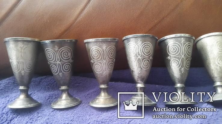 6 серебряных рюмок, фото №3