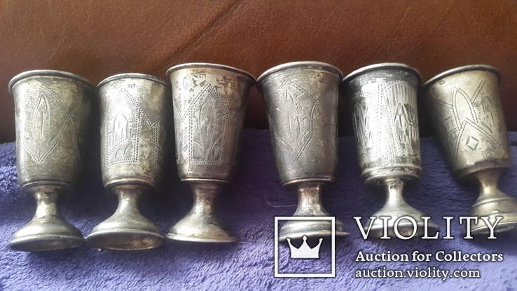 6 серебряных рюмок  проба 84, фото №3