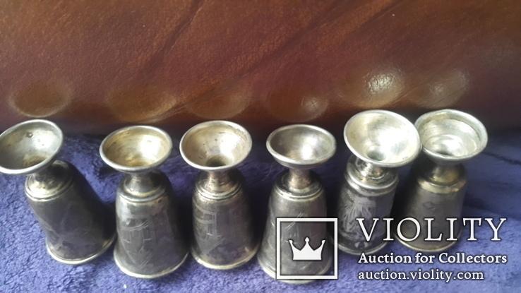 6 серебряных рюмок  проба 84, фото №8
