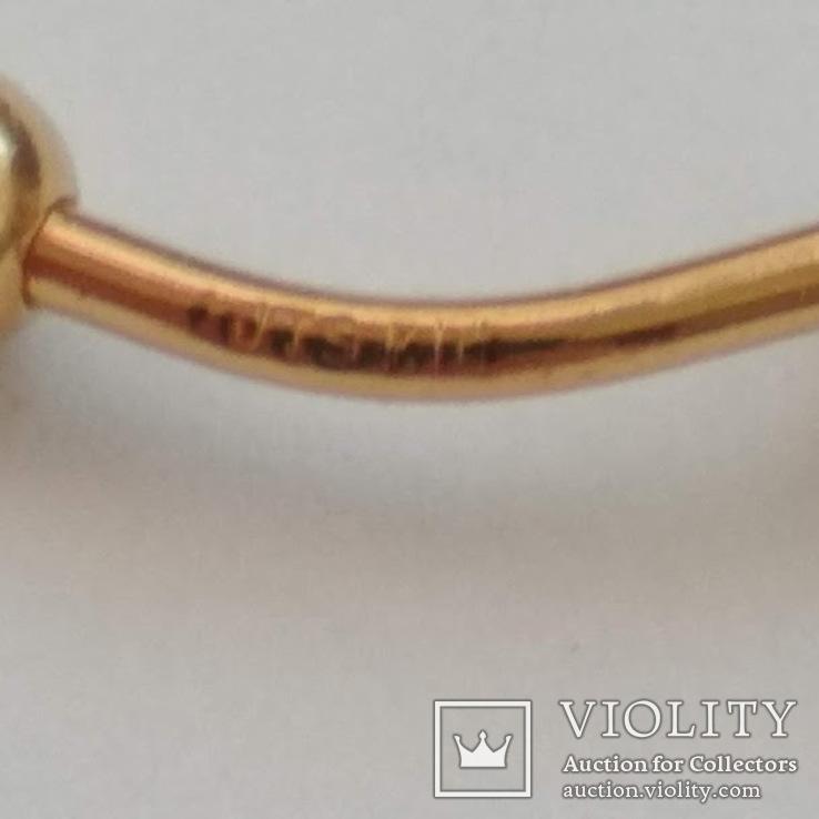Золотая серьга для пупка, фото №7
