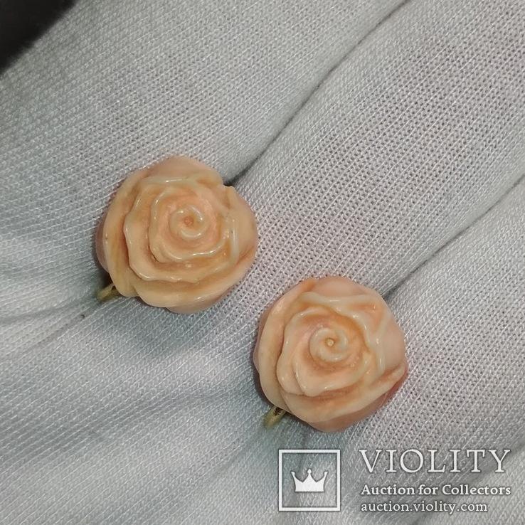 Винтажные золотые серьги розочки из натурального коралла, фото №11