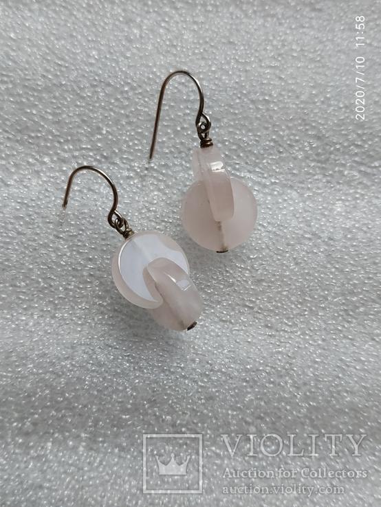 Серьги таблетки серебро розовый кварц, фото №2