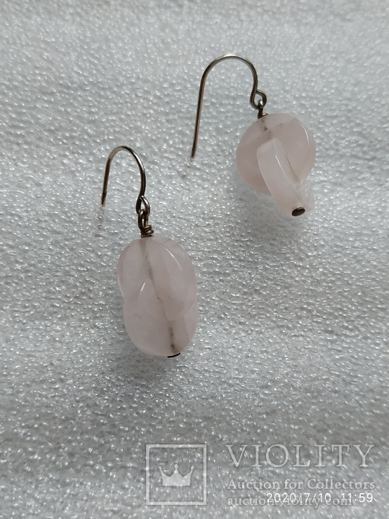 Серьги таблетки серебро розовый кварц, фото №4