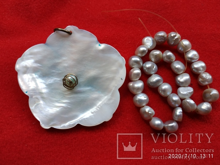 Кулон цветок перламутр, браслет жемчуг, фото №3