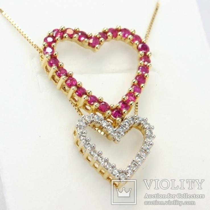 """Золотая подвеска """"Два сердца"""" с натуральными рубинами и бриллиантами, фото №3"""