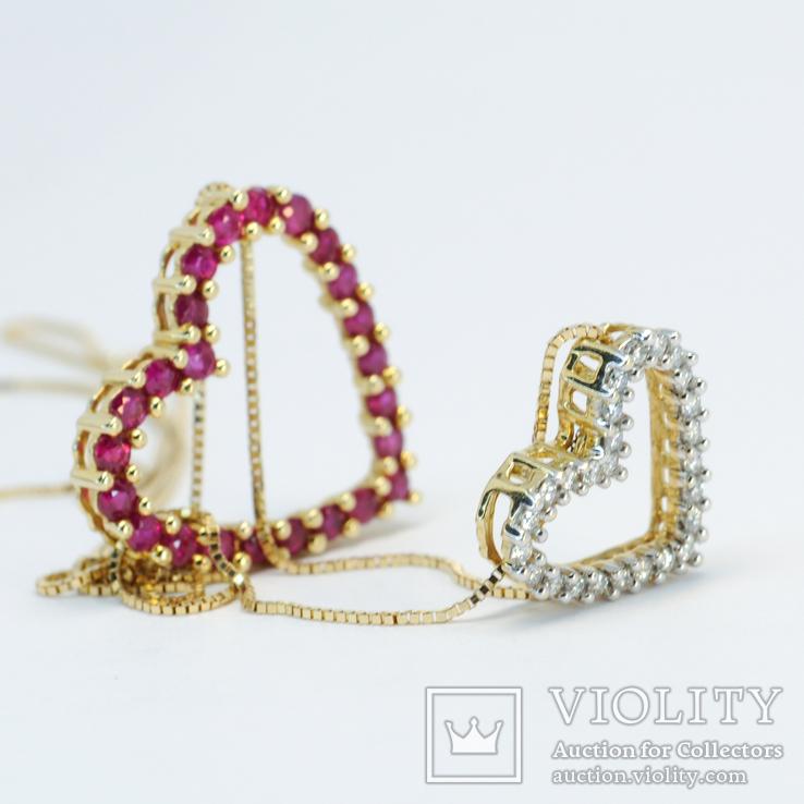 """Золотая подвеска """"Два сердца"""" с натуральными рубинами и бриллиантами, фото №5"""