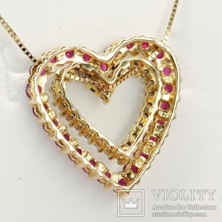 """Золотая подвеска """"Два сердца"""" с натуральными рубинами и бриллиантами, фото №7"""