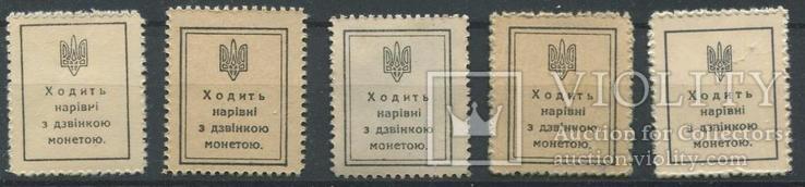 1918 Украина УНР Марки - деньги полный комплект шаги, фото №3