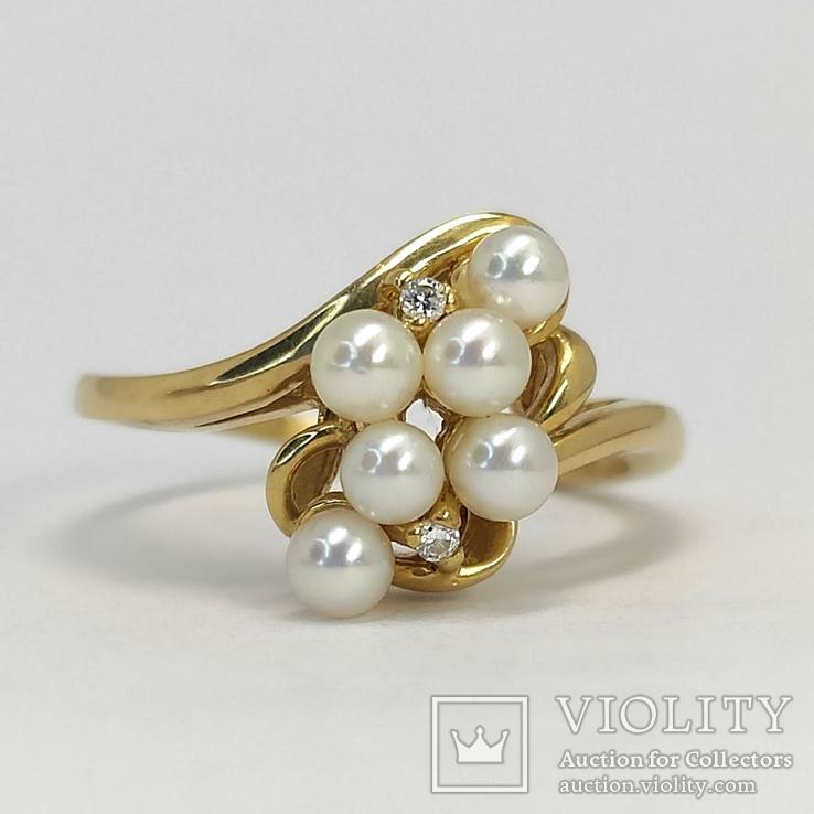 Винтажное золотое кольцо с мелким жемчугом и 2-мя бриллиантами