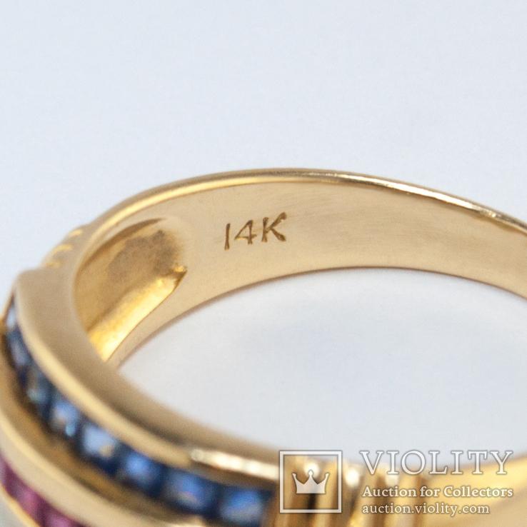 Винтажное золотое кольцо с натуральными сапфирами, изумрудами и рубинами, фото №3