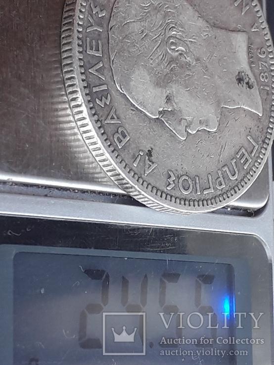 5 драхм, Греция, 1876 год, серебро 900-й пробы, 25 грамм, фото №4