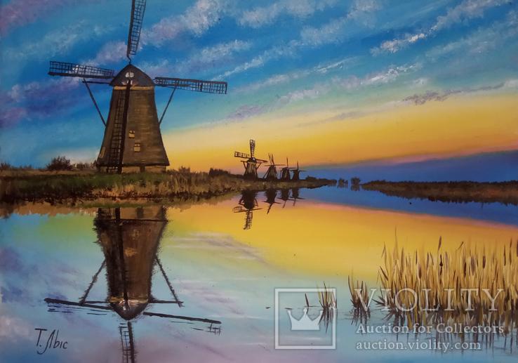 Картина маслом 25х35 Мельницы на закате