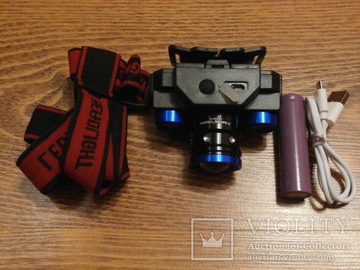 Аккумуляторный Налобный фонарик Police BL-608-T6,Диод CREE-T6,акк. 18650, фото №2