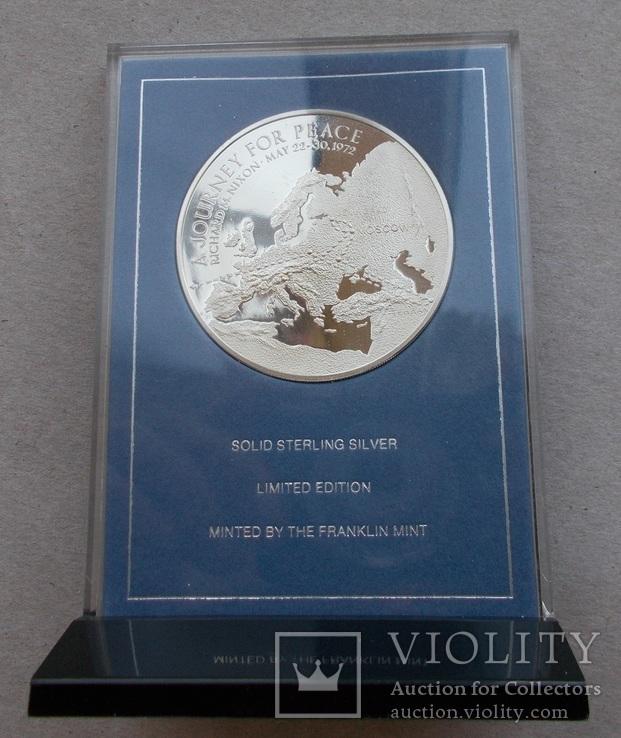 Памятная настольная медаль Брежнев - Никсон.