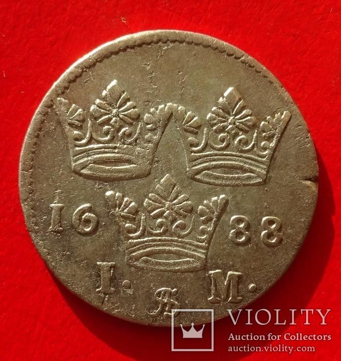 1 марка, Швеция, 1688 год,, фото №4