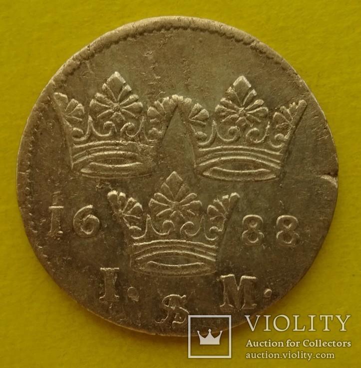 1 марка, Швеция, 1688 год,, фото №5