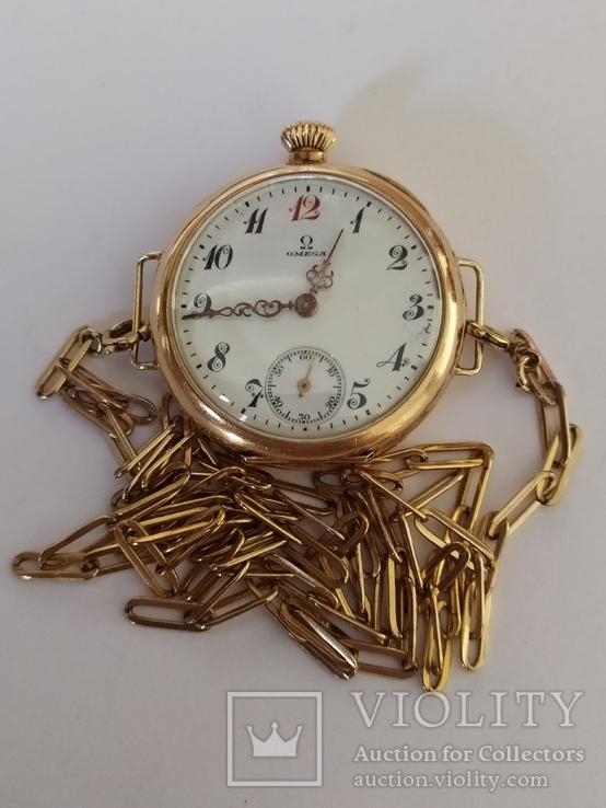Старинные золотые часы Оmega. На ходу, фото №2