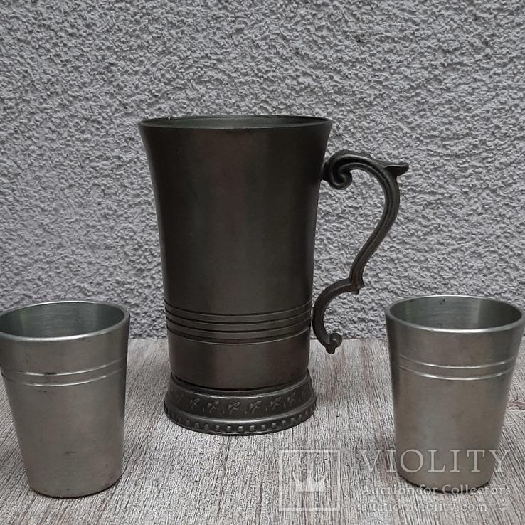 Коллекционная кружка,бокал из пищевого цинка и 2 стопки, фото №2