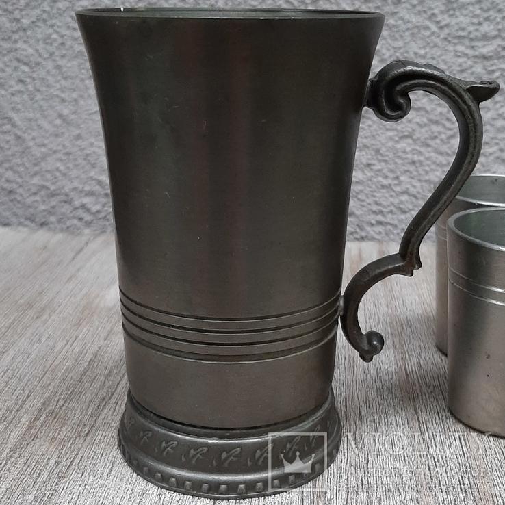 Коллекционная кружка,бокал из пищевого цинка и 2 стопки, фото №3