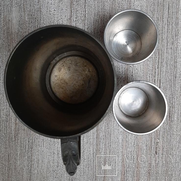 Коллекционная кружка,бокал из пищевого цинка и 2 стопки, фото №4
