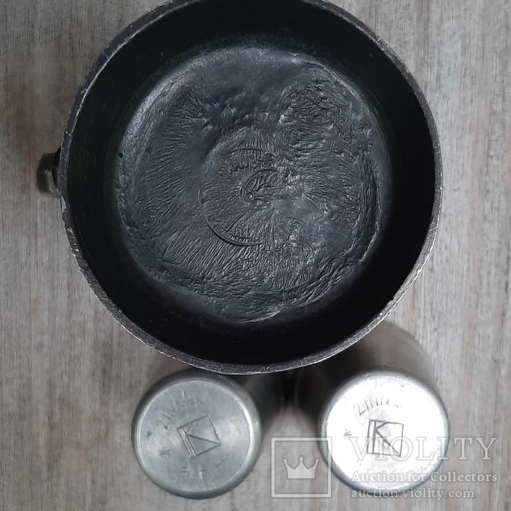 Коллекционная кружка,бокал из пищевого цинка и 2 стопки, фото №5