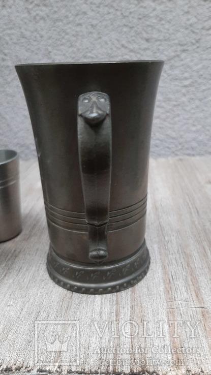 Коллекционная кружка,бокал из пищевого цинка и 2 стопки, фото №9