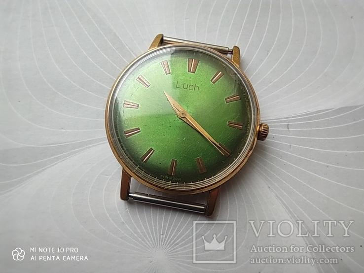 Часы Луч (зеленый циферблат). позолота Au5