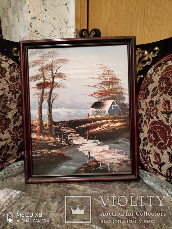Картина в раме, пейзаж,картон,масло, фото №4