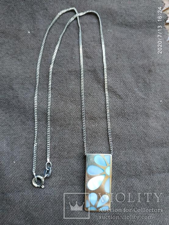 Цепочка кулон перламутр цветы серебро, фото №2