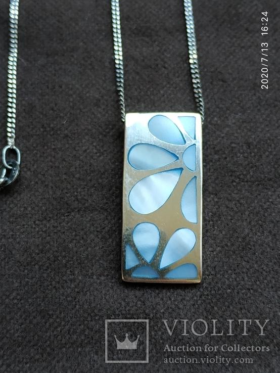 Цепочка кулон перламутр цветы серебро, фото №3