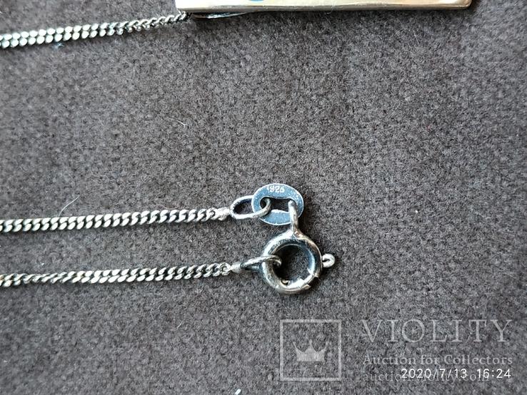 Цепочка кулон перламутр цветы серебро, фото №4
