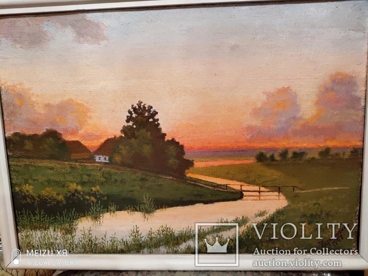 Картина в раме пейзаж,холст,масло автор Чернышенко, фото №3