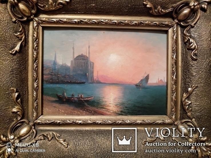 Старинная картина в раме морской пейзаж, фото №2