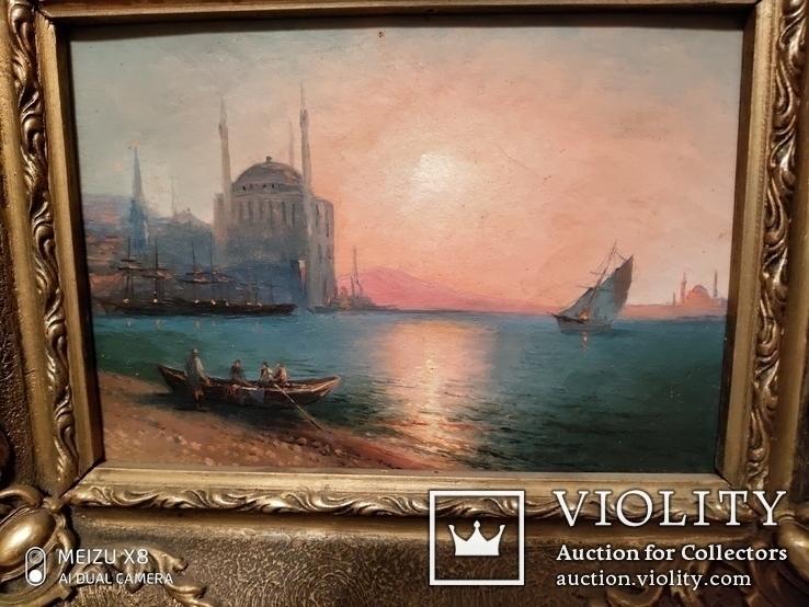 Старинная картина в раме морской пейзаж, фото №4