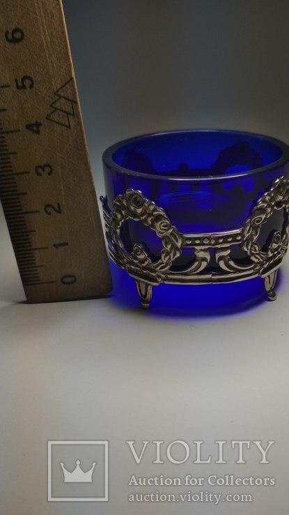 Серебряная солонка с родным стеклом, фото №3