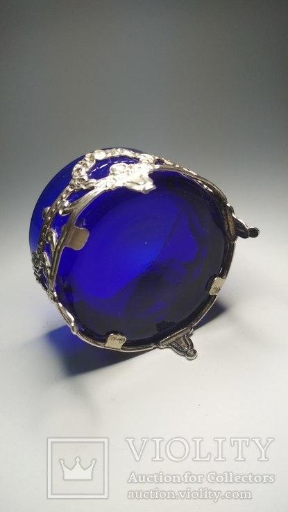 Серебряная солонка с родным стеклом, фото №6