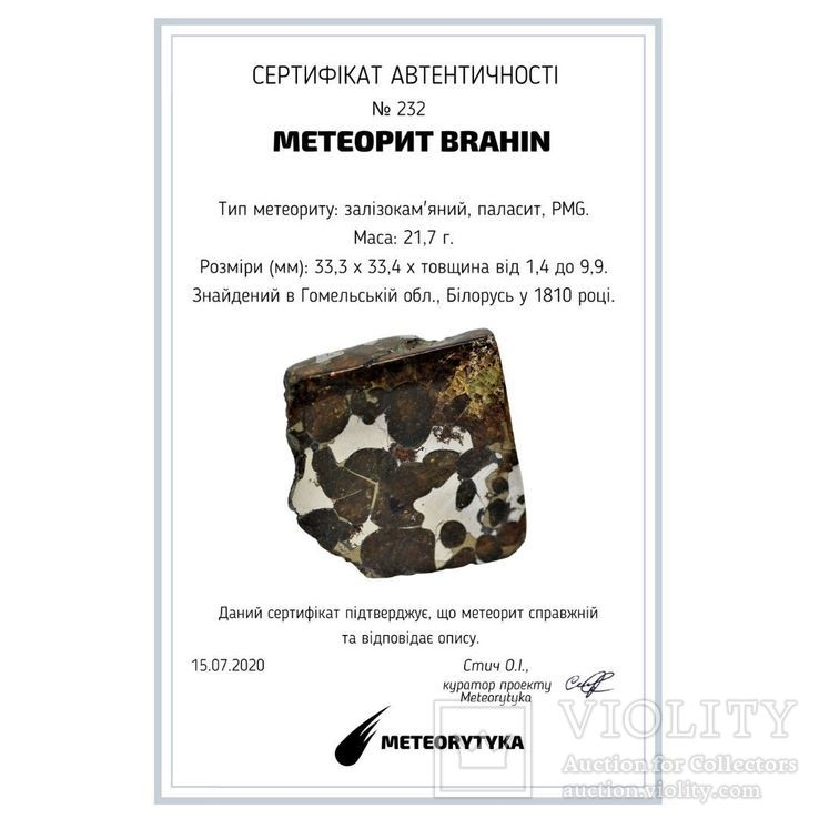 Залізо-кам'яний метеорит Брагін Brahin, 21,7 грам, із сертифікатом автентичності, фото №11