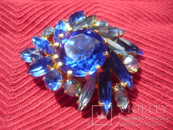 Брошь . Синие и белые камни., фото №6