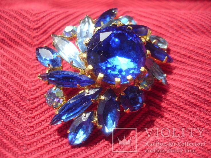 Брошь . Синие и белые камни., фото №7