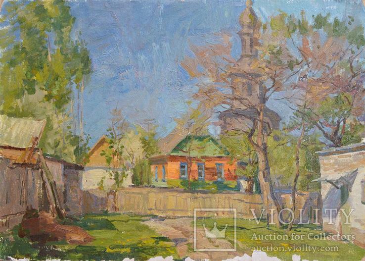 Костенко Анатолий Александрович (1920-1996). Сельская церковь. к/м. 49*70 см