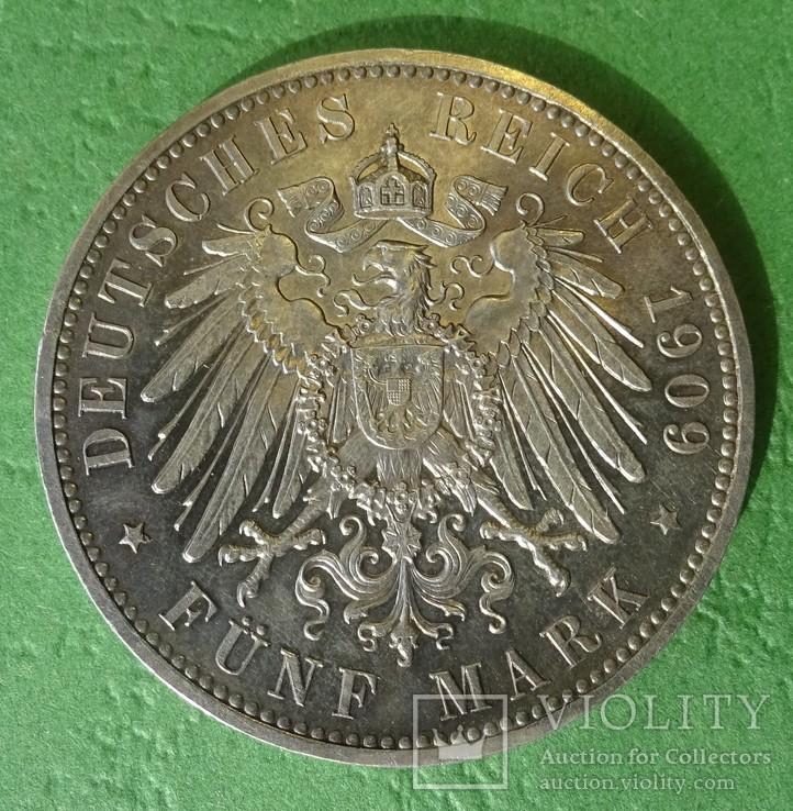 5 марок, 1909 год, Саксония., фото №3