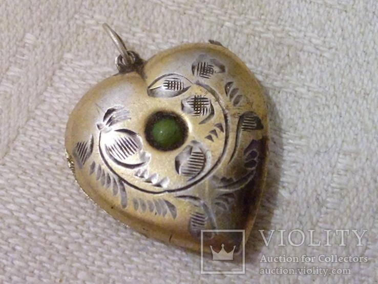 Кулон для фото Сердце (серебро 875), фото №2