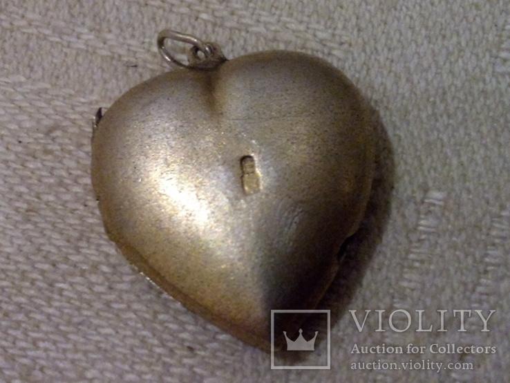 Кулон для фото Сердце (серебро 875), фото №4