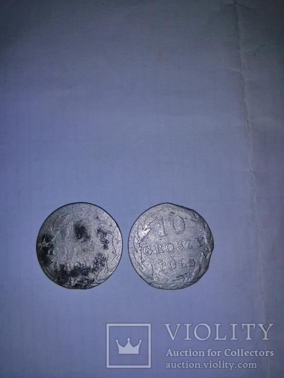 10 грош злотих 2 штуки 1820р и 1830р, фото №3