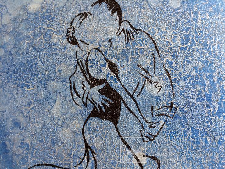 Картина, Танго під дощем, 35х35 см. Живопис на полотні, фото №4