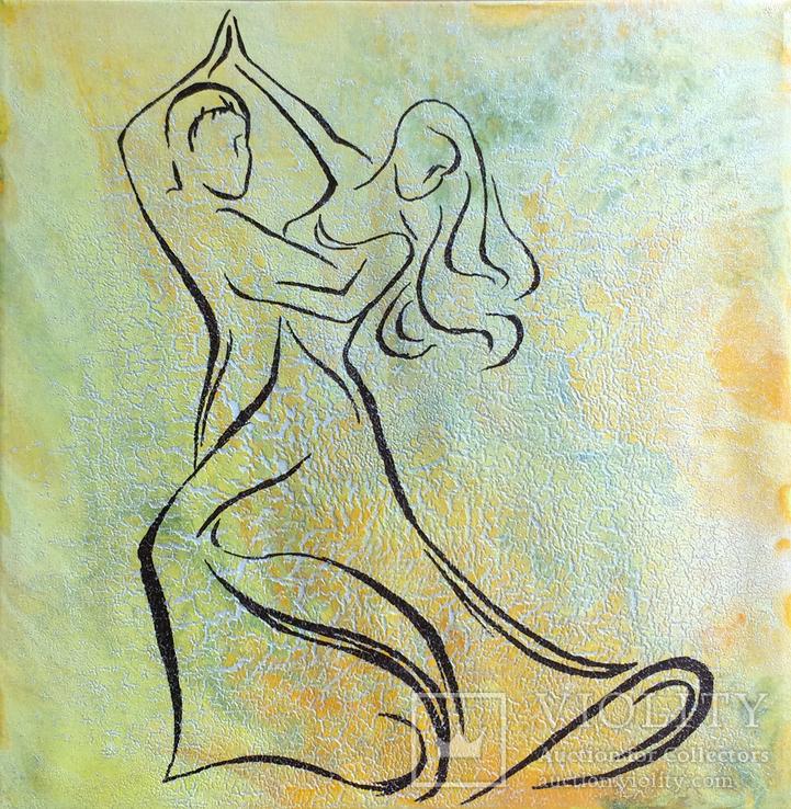 Картина, Танок у сонячнім промінні, 35х35 см. Живопис на полотні, фото №2