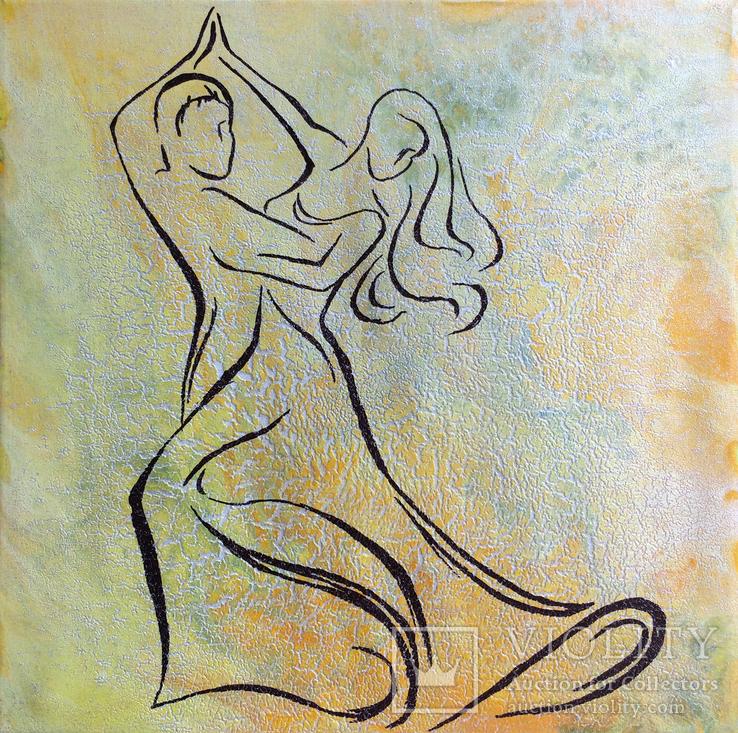 Картина, Танок у сонячнім промінні, 35х35 см. Живопис на полотні, фото №3