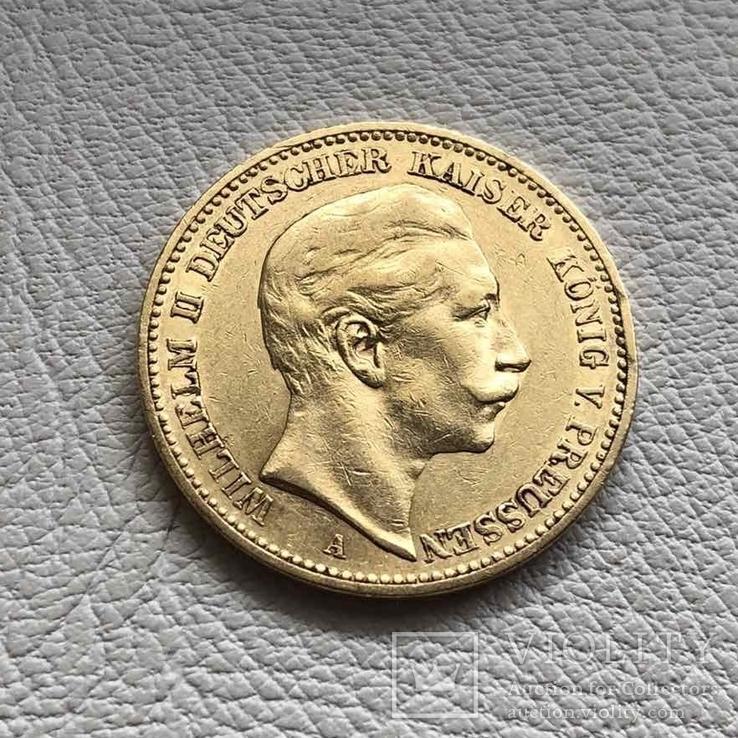 Пруссия 20 марок 1893 год 7,96 грамм 900', фото №2